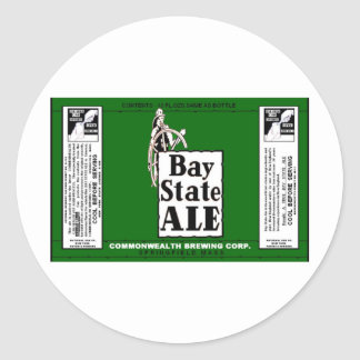BAY STATE ALE BEER CAN DESIGN COMMONWEALTH BREWING CLASSIC ROUND STICKER