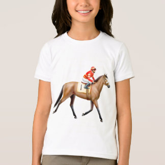 Bay Thoroughbred Horse Girls Ringer T-Shirt