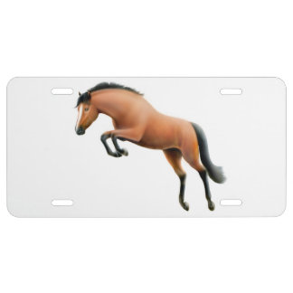 Bay Thoroughbred Jumping Horse License Plate