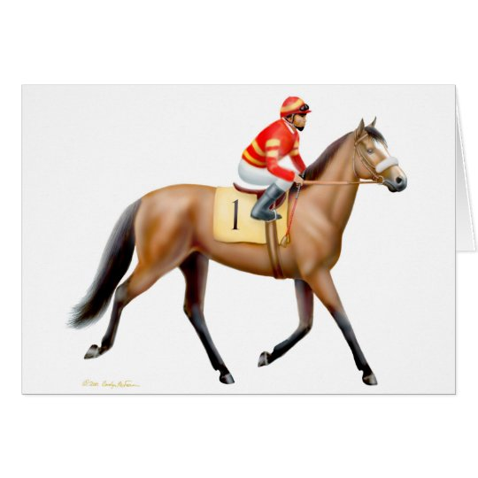 Bay Thoroughbred Race Horse Card