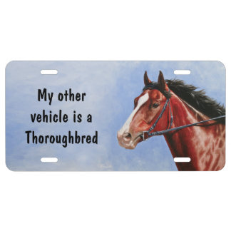 Bay Thoroughbred Race Horse License Plate