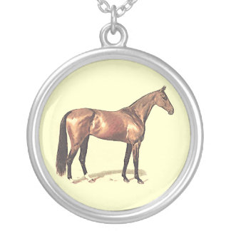 Bay Thoroughbred Race Horse Round Pendant Necklace