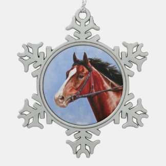 Bay Thoroughbred Race Horse Snowflake Pewter Christmas Ornament