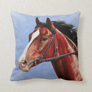 Bay Thoroughbred Race Horse Throw Pillow