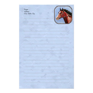 Bay Thoroughbred Racehorse Blue Stationery
