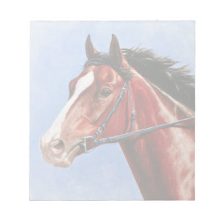 Bay Thoroughbred Racehorse Memo Note Pads