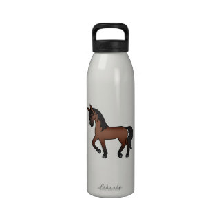 Bay Trotting Cartoon Horse Reusable Water Bottle