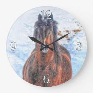 """Bay Winter Horse """"Year of the Horse"""" Equine photo Large Clock"""
