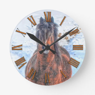 """Bay Winter Horse """"Year of the Horse"""" Equine photo Round Clock"""
