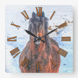 """Bay Winter Horse """"Year of the Horse"""" Equine photo Square Wall Clock"""