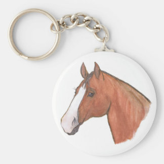 """""""Bay with Blaze"""" Horse Keychain"""