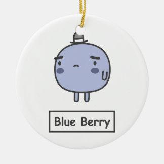 Baya azul adorno redondo de cerámica