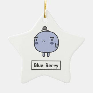 Baya azul adorno de cerámica en forma de estrella
