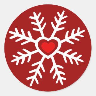Baya del navidad el | del copo de nieve del pegatina redonda