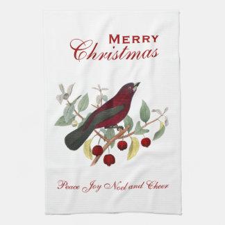 Baya roja del pájaro del navidad y alegría de Noel Toalla De Mano