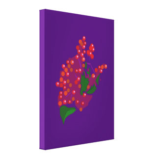 Baya roja impresión en lienzo estirada