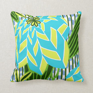 BAYAMO: Art Deco Leaves in Blue and Green Pillow