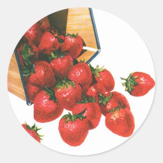 Bayas de la fruta de la comida del vintage, fresas pegatina redonda