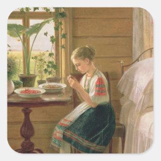 Bayas de la peladura del chica, 1880 colcomanias cuadradass