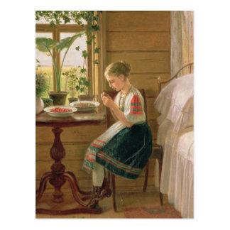 Bayas de la peladura del chica, 1880 postales