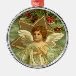 Bayas del acebo de la estrella del oro del ángel d ornamento para reyes magos