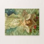 Bayas del acebo de la estrella del oro del ángel d rompecabezas con fotos
