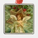 Bayas del acebo de la estrella del oro del ángel ornamento de reyes magos