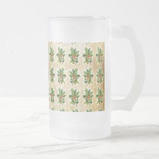 Bayas del acebo del navidad del vintage taza de cristal