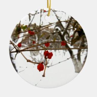 Bayas del invierno adorno navideño redondo de cerámica