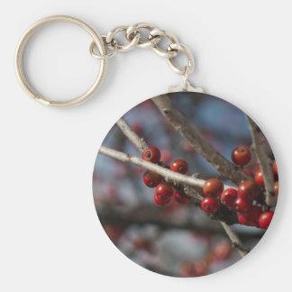 Bayas del invierno llavero redondo tipo pin