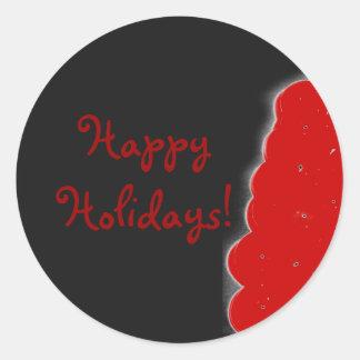 Bayas del navidad del invierno Buenas fiestas Pegatina Redonda