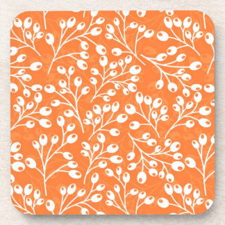 Bayas lindas del otoño del naranja y del blanco posavasos de bebida