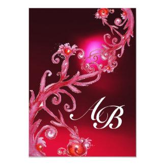 """BAYAS MÁGICAS 4, rojo Borgoña del MONOGRAMA Invitación 4.5"""" X 6.25"""""""