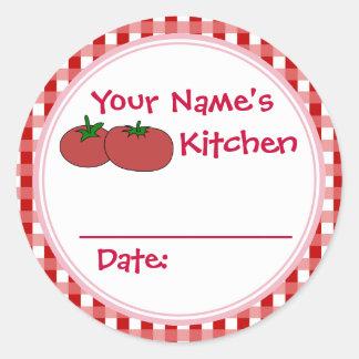Bayas personalizadas de los tomates que conservan pegatina redonda