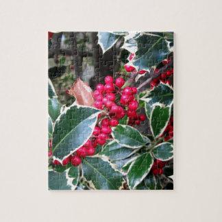 Bayas rojas de un árbol de acebo rompecabezas con fotos