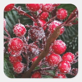 Bayas rojas del navidad calcomanía cuadrada personalizada