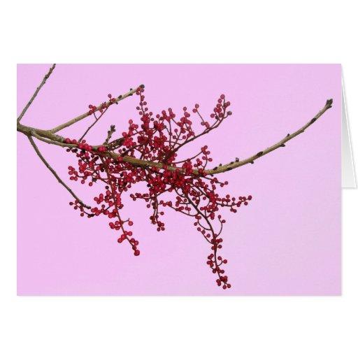 Bayas rojas en rama de árbol inactiva tarjeta de felicitación