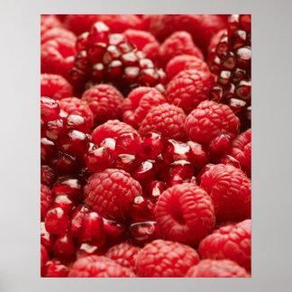 Bayas rojas sanas y nutritivas póster