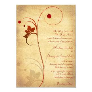 Bayas rústicas de la vid del otoño que casan la invitación 12,7 x 17,8 cm
