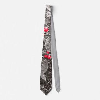 Bayas y hojas del patio trasero, blancos y negros corbatas personalizadas