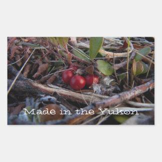 Bayas y ramitas; Recuerdo del territorio del Yukón Pegatina Rectangular