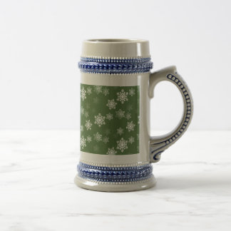Bayberry Green and White Snow Flake Flurries Beer Stein