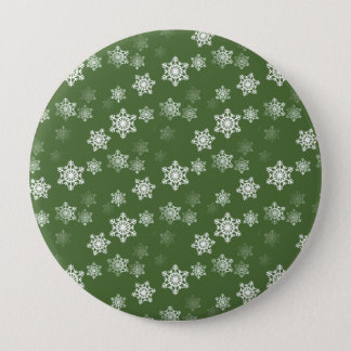 Bayberry Green and White Snow Flake Flurries Button