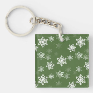 Bayberry Green and White Snow Flake Flurries Keychain
