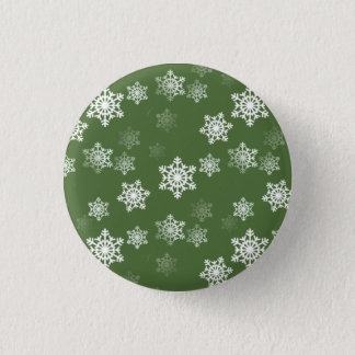 Bayberry Green and White Snow Flake Flurries Pinback Button