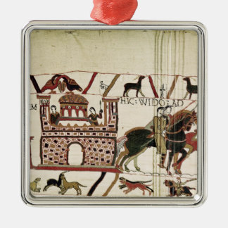 Bayeux Tapestry Earl Harold to Duke of Normandy Square Metal Christmas Ornament