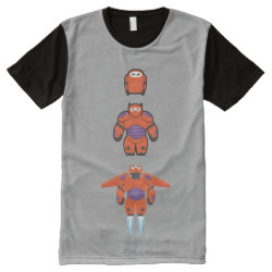 Men's American Apparel All-Over Printed Panel T-Shirt with Baymax Mech Flight Take-Off design