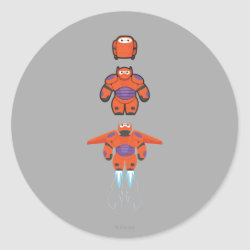 Round Sticker with Baymax Mech Flight Take-Off design