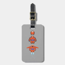 Small Luggage Tag with leather strap with Baymax Mech Flight Take-Off design