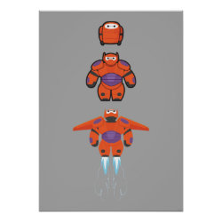 Matte Poster with Baymax Mech Flight Take-Off design